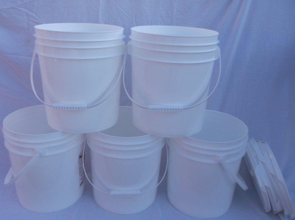 5 FOOD GRADE USED PLASTIC 4 GALLON ROUND BUCKETS PAILS W LIDS HANDLES STORAGE RK 1