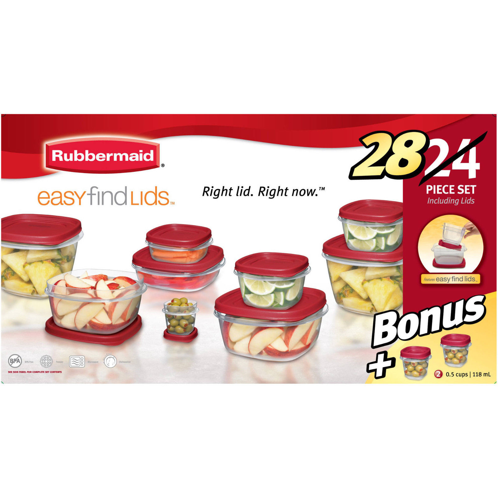 Rubbermaid Easy Find Lids Food Storage Container, 28-Piece Bonus Set Red New 1