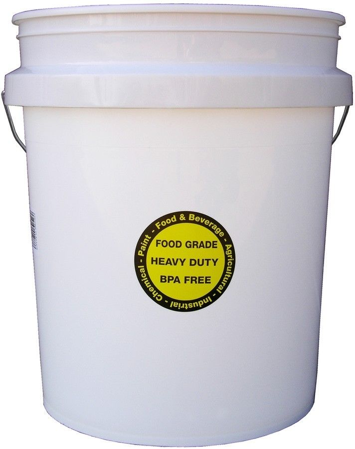 White High Density Plastic Tool Storage 5 Gallon Commercial Food Grade Bucket 1