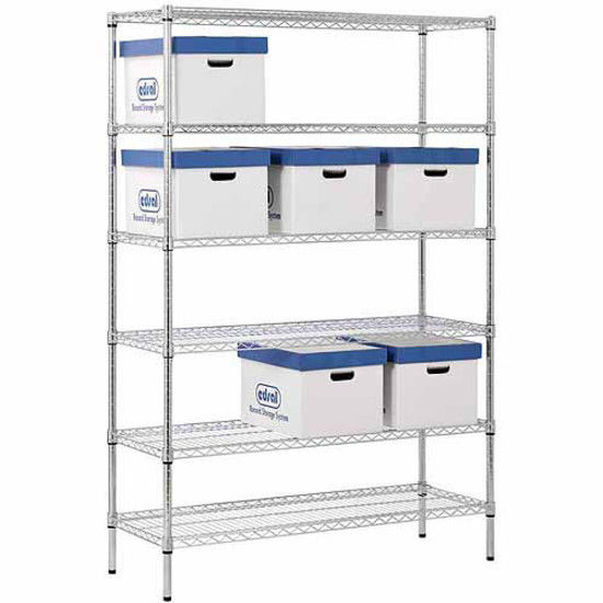 """6-Shelf 48""""W x 72""""H x 18""""D Steel Shelving Unit, Zinc,NSF certfied food storage. 1"""
