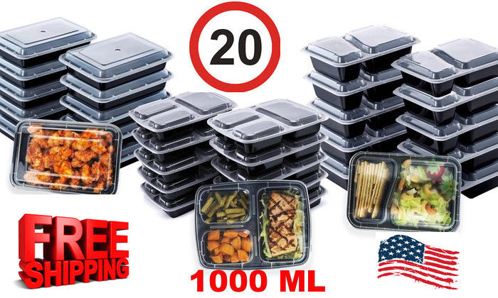 20 Pack Meal Prep Containers Reusable Food Storage 1