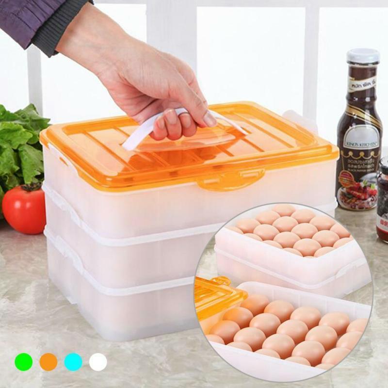 Egg Container 60 Tray Eggs Food Storage Box 3 Layer Shelf Plastic Case Organizer 1