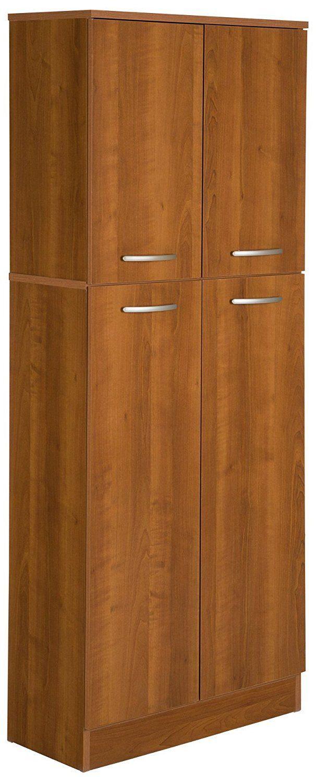Kitchen Pantry Storage Cabinet Tall 5-Shelf 4-Door Food Organizer Wood Cupboard 1