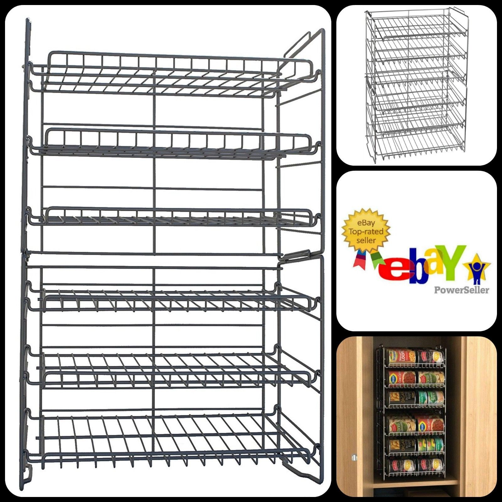 Silver Double Canrack Can Food Kitchen Slim Storage Organizer Angled Shelves New 1