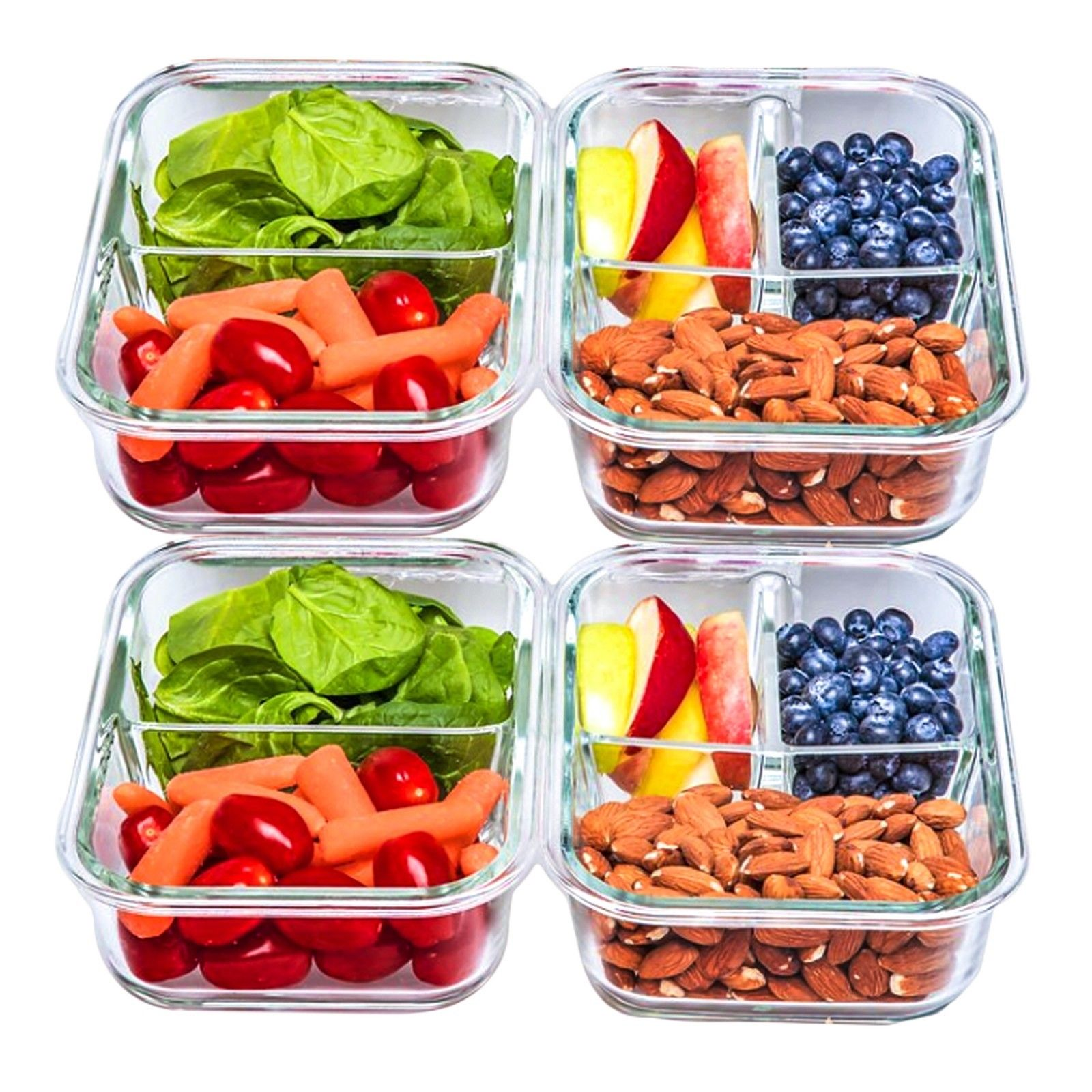 2 & 3 Compartment Glass Meal Prep Food Storage Containers - 4 Pack, 30 OZ 1
