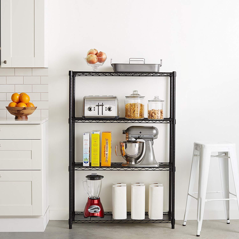 Food Pantry Storage Kitchen Food Organizer Storage 4 Adjustable Shelves Durable 1
