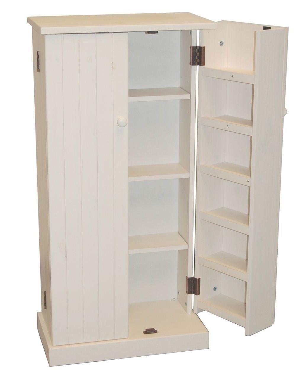 White Wooden Kitchen Pantry Cabinet Storage Organizer Food Cupboard Shelves Door 1