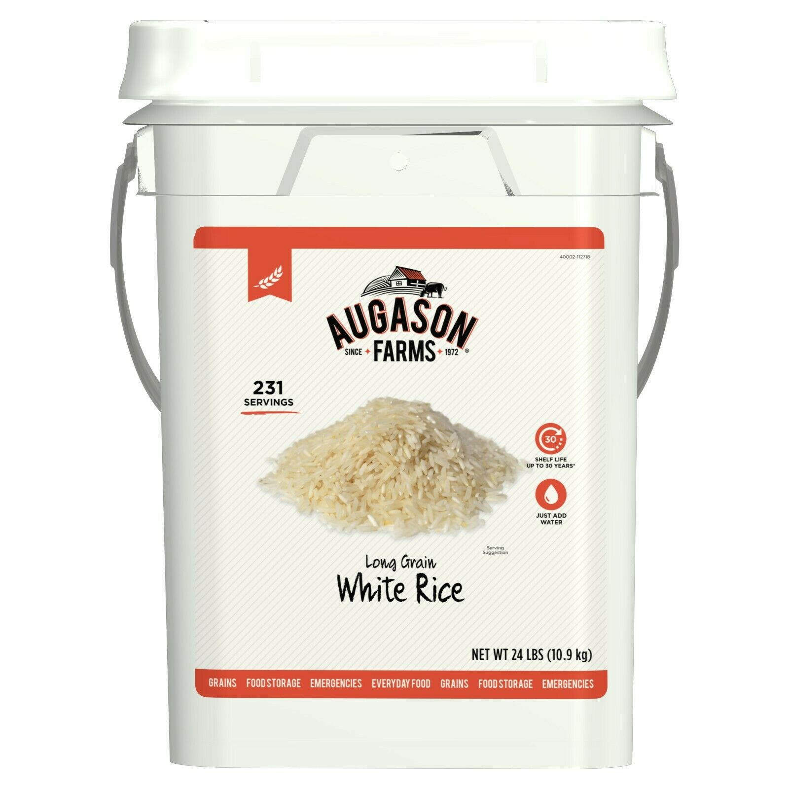 Augason Farms Long Grain White Rice Emergency Food Storage 24 Pound Pail 1