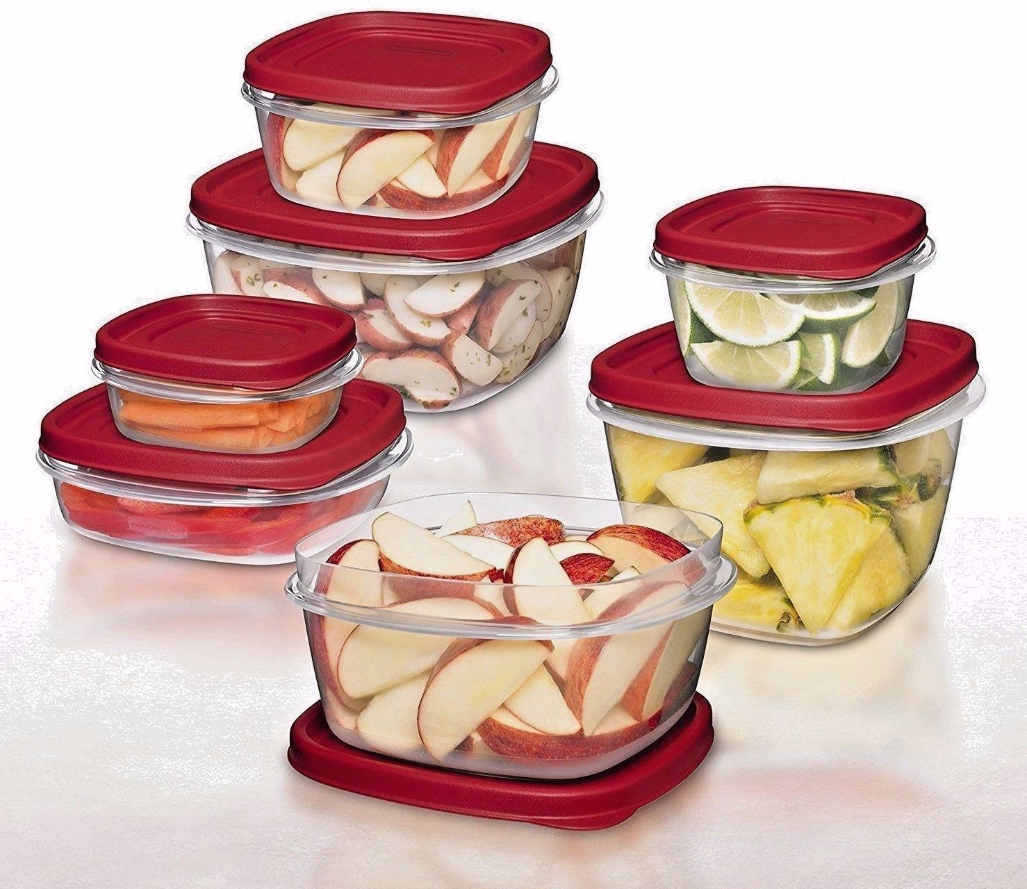 0.5 /1.25 /2 /3/5/7 cups Rubbermaid BPA-FREE Plastic Food Storage Containers Set 1