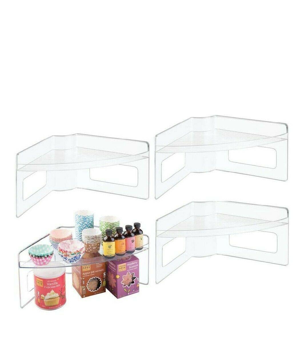 mDesign Plastic Kitchen Cabinet Lazy Susan Food Storage Organizer Raised Shelf - 1