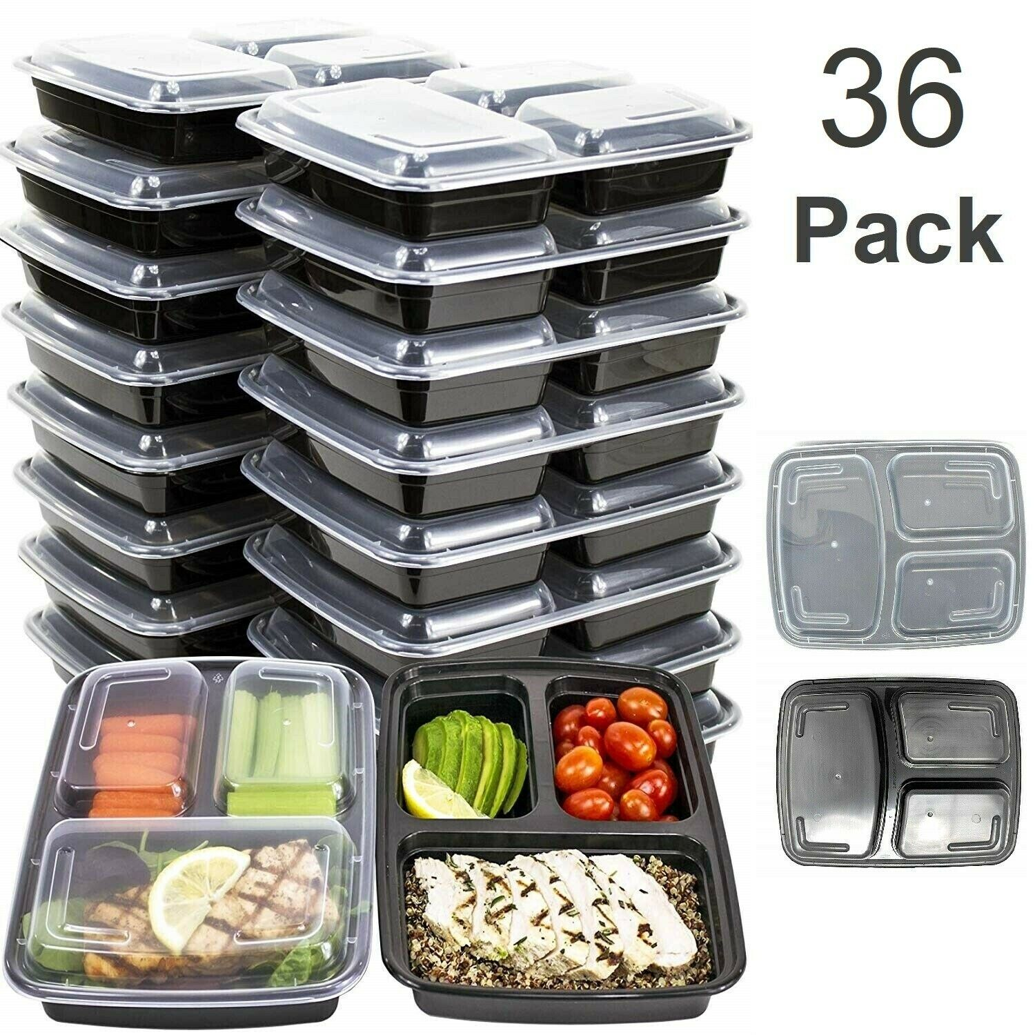 MEAL PREP CONTAINERS Microwave Safe 3 Compartment Reusable Food Storage 36 PACK 1