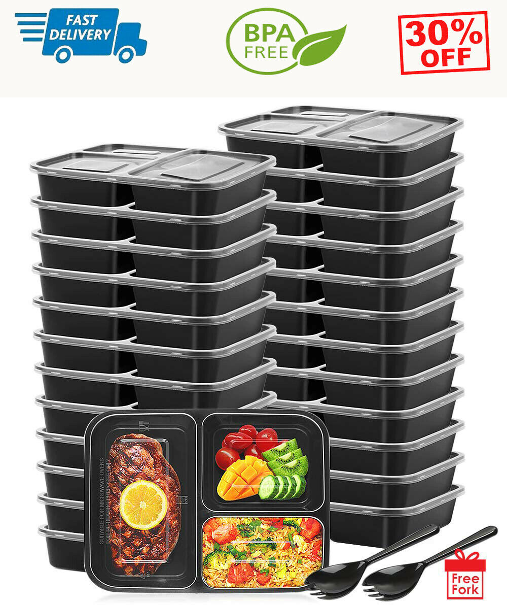 25 Pack 3 Compartment Meal Prep Containers Food with Lids Storage Bento Reusable 1