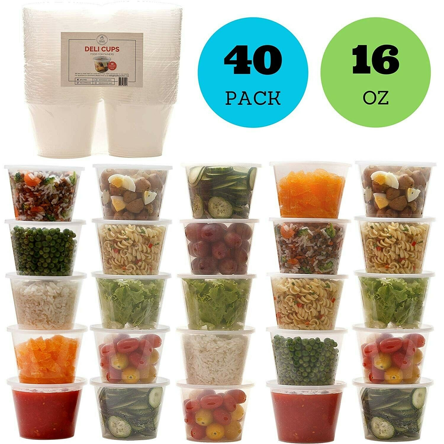 16oz Plastic Food Storage Containers with Lids, Restaurant Deli Cups (Set of 40) 1