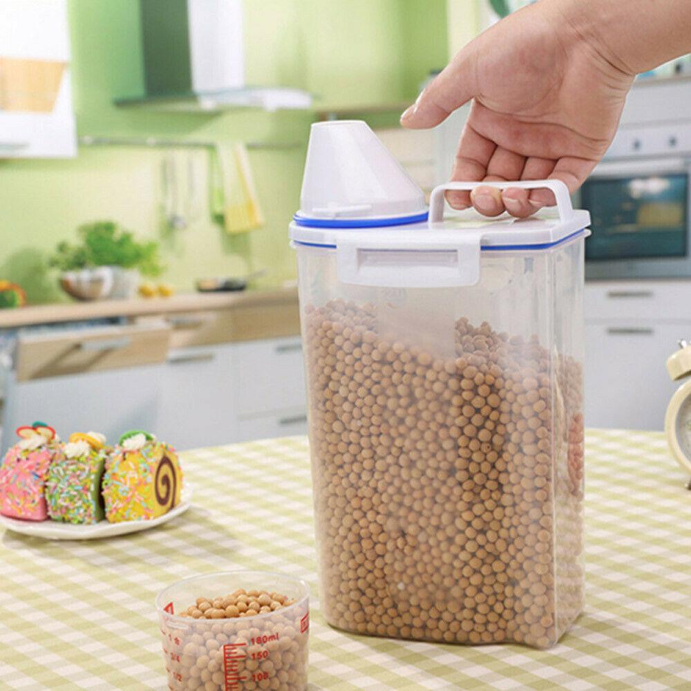 2L Plastic Cereal Dispenser Storage Box Kitchen Food Grain Rice Container USA 1