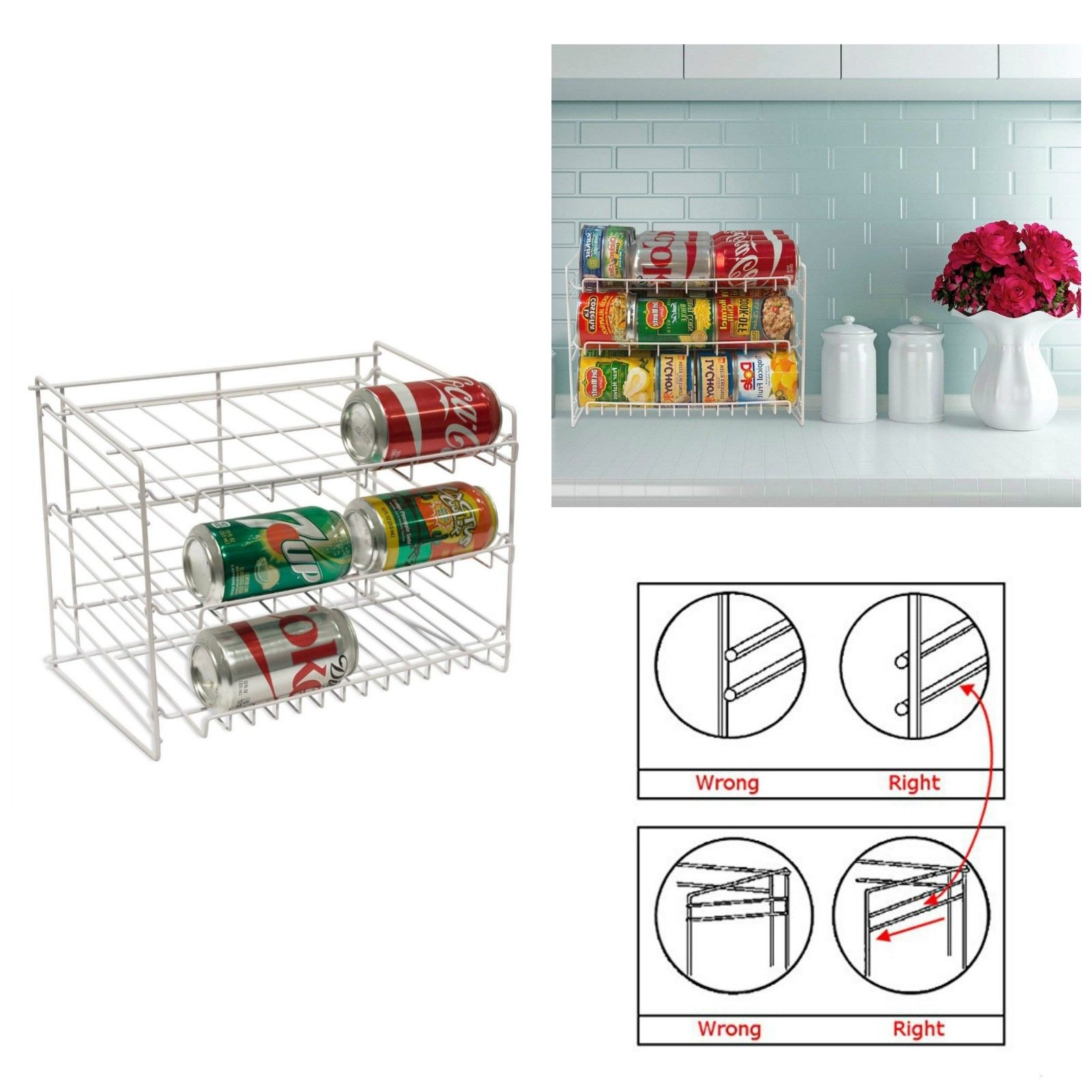 Can Food Storage Kitchen Pantry Cabinet Organizer Canned Goods Rack Shelf Holder 1