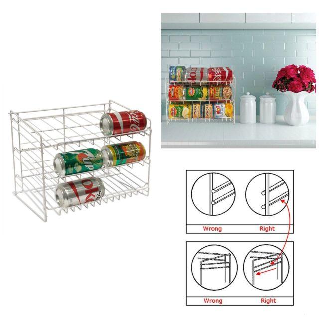 Can Food Storage Kitchen Pantry Cabinet Organizer Canned Goods Rack Shelf Holder 4