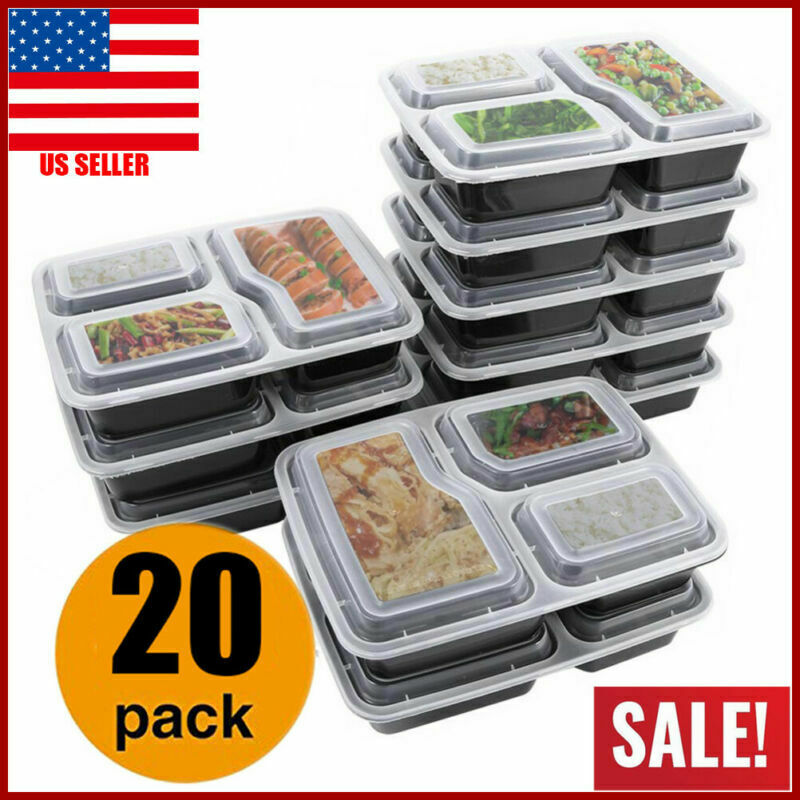MEAL PREP CONTAINERS Microwave Safe 3 Compartment Reusable Food Storage 20PACK 1