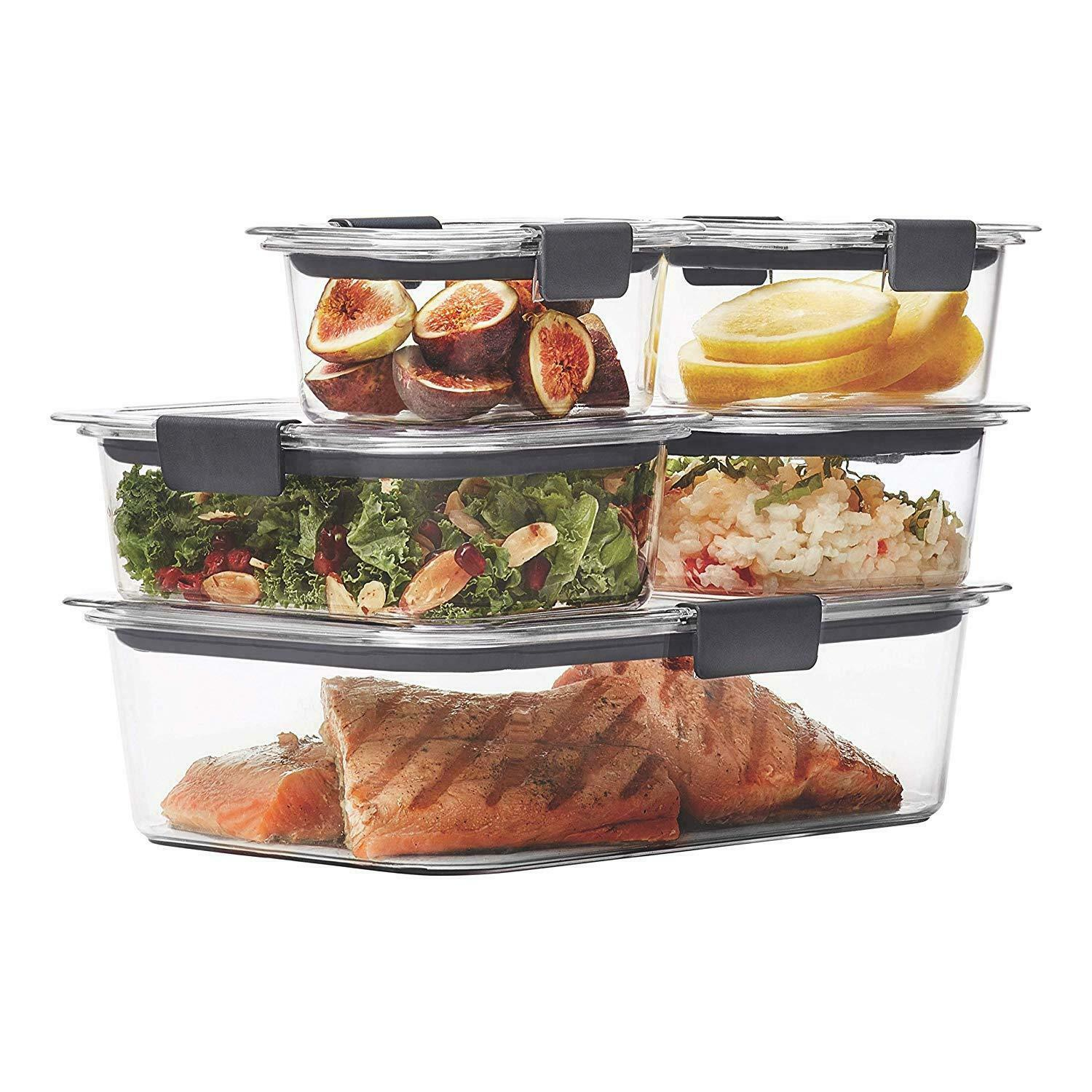 Rubbermaid Brilliance Food Storage Containers Airtight Lids BPA Free Set Of 5 1