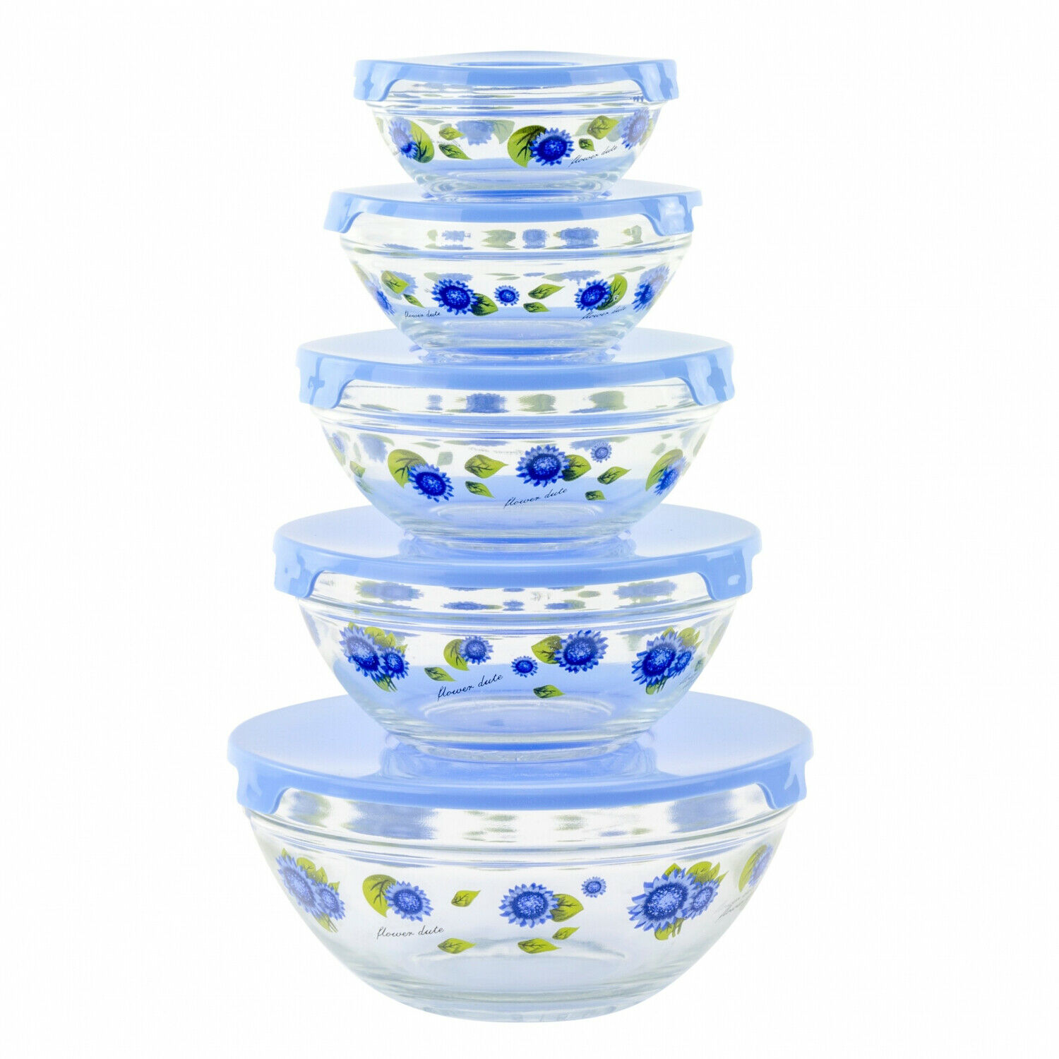 10 Piece Glass Food Storage Container Set With Lids And Flower Design 1
