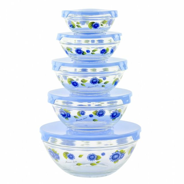 10 Piece Glass Food Storage Container Set With Lids And Flower Design 2