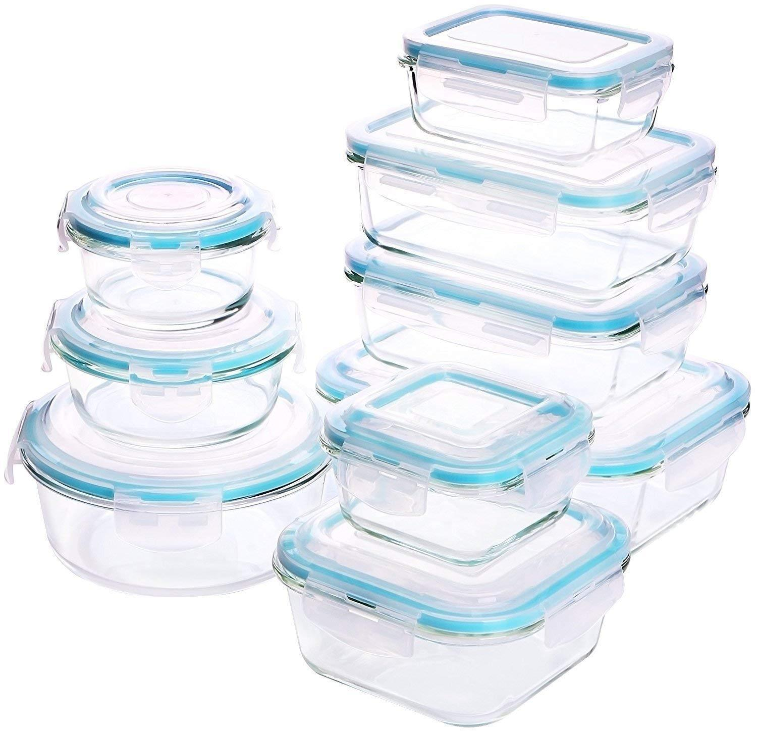 Utopia Kitchen Glass Food Storage Container Set 18 Pieces (9 Containers+9 Lids) 1