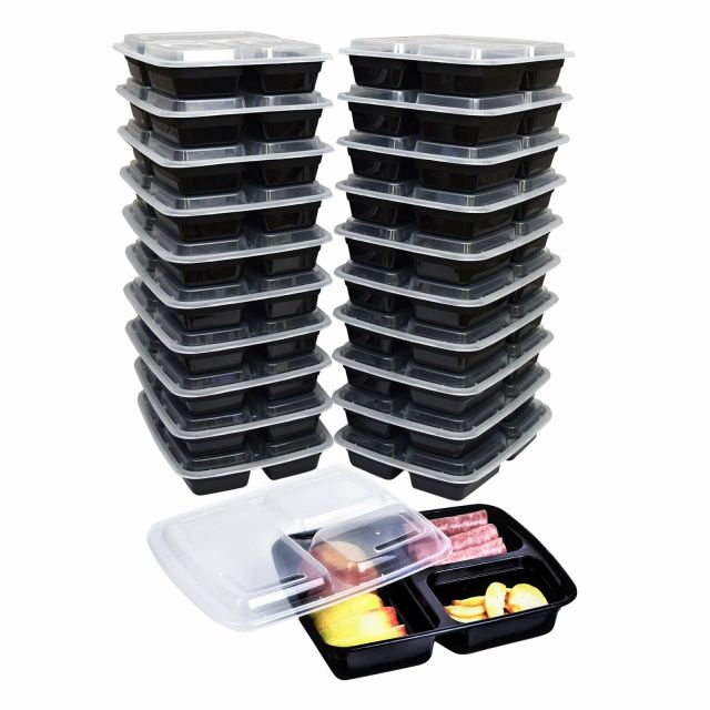 Green Direct 3 Compartment Meal Prep Containers with lids - Plastic Lunch Boxes 8