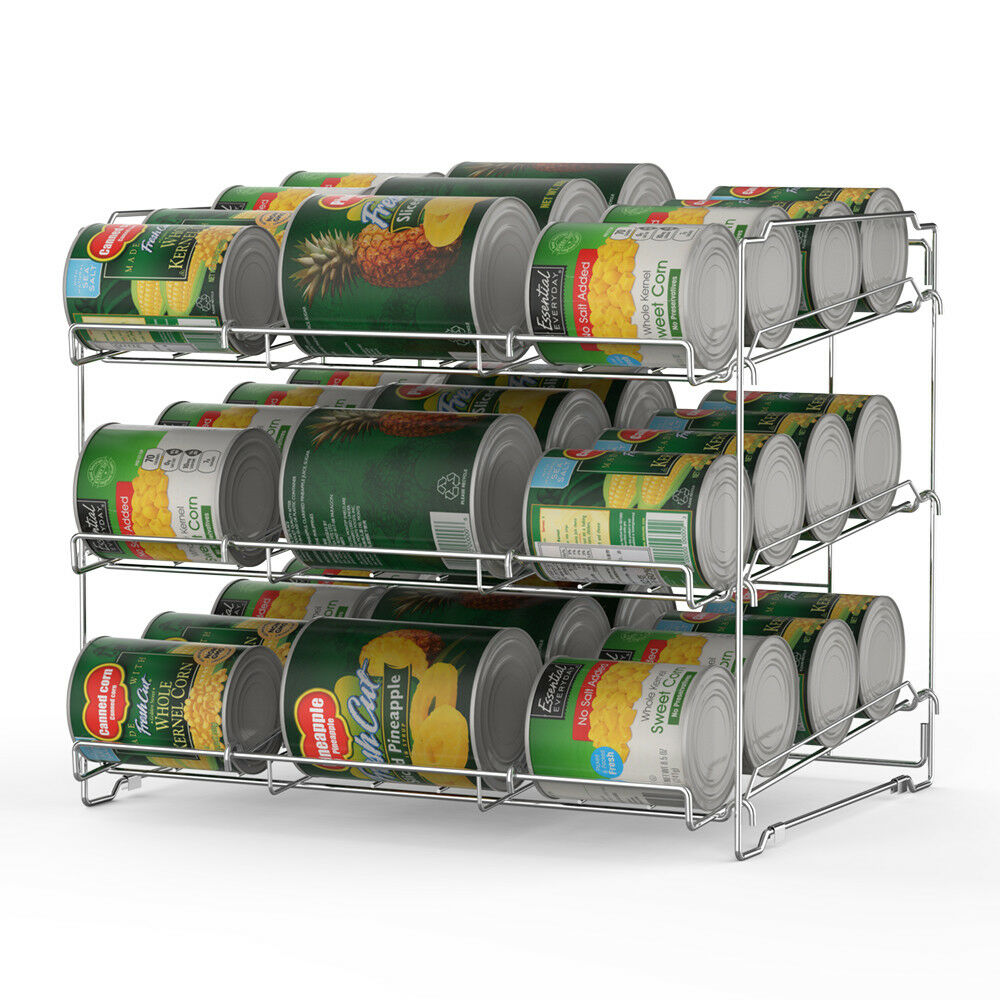 Kitchen Cabinet Shelf Can Storage Rack Pantry Organizer Soup Can Food Holder 1
