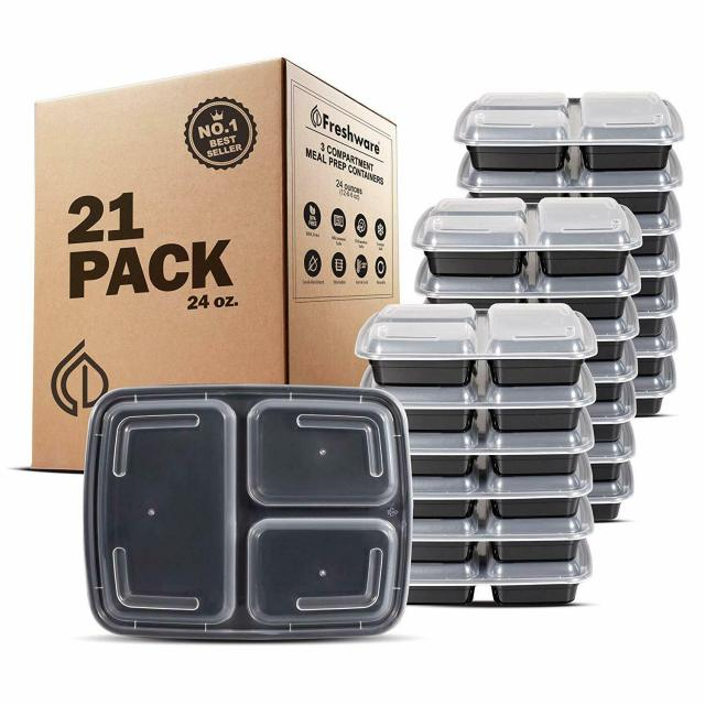MEAL PREP CONTAINERS Microwave Safe 3 Compartment Reusable Food Storage 21PACK 2