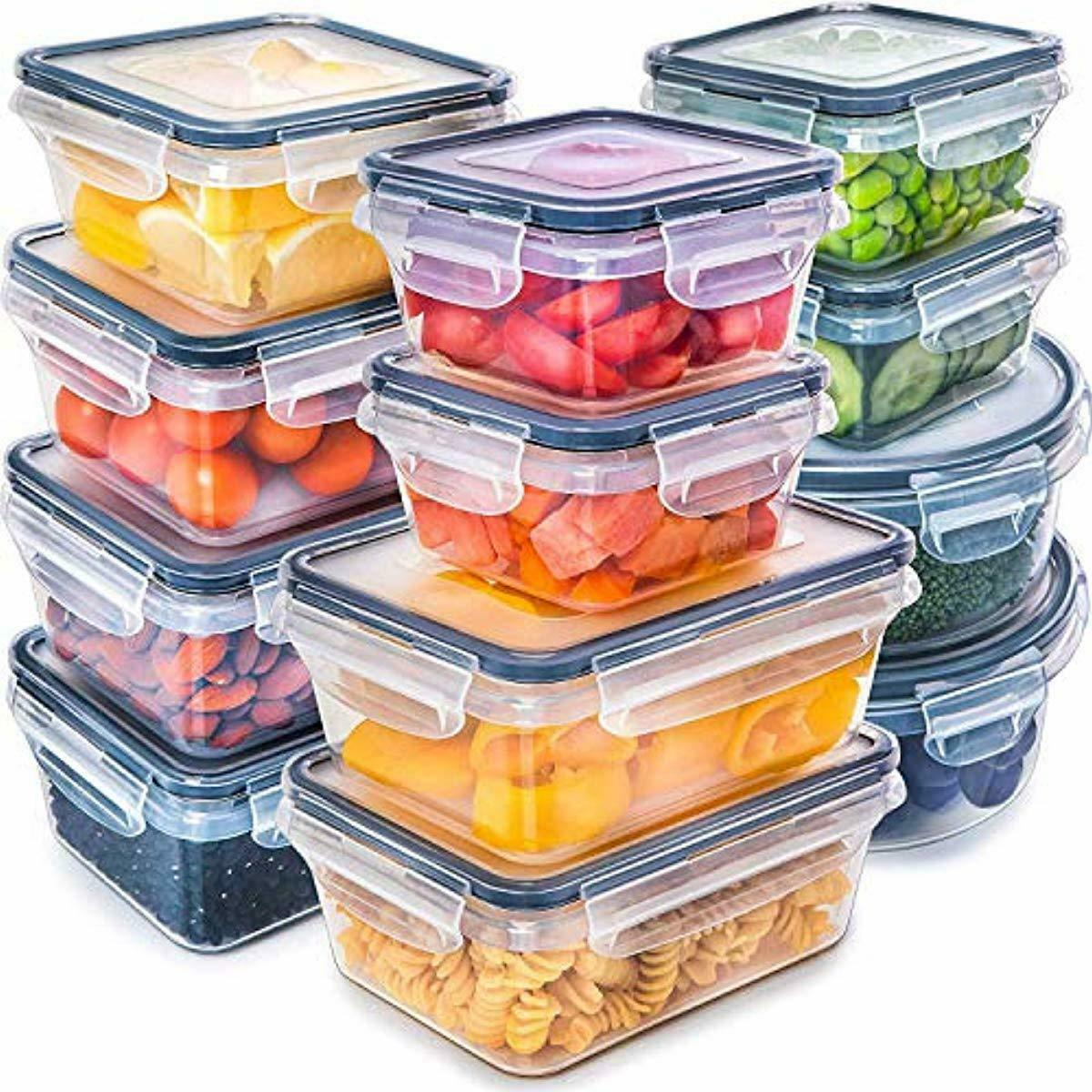 Fullstar (12 Pack) Food Storage Containers with Lids - Black Plastic Food 1