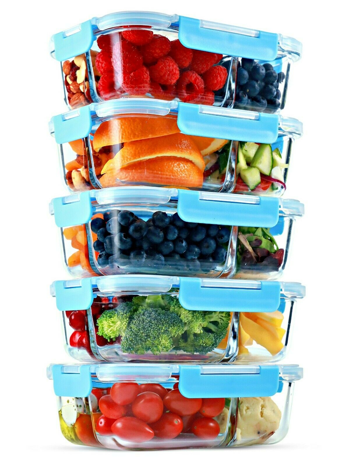 Glass Meal Prep Containers 3 Compartment, 5 Pack, 35 Oz, Food Storage Bento Box 1