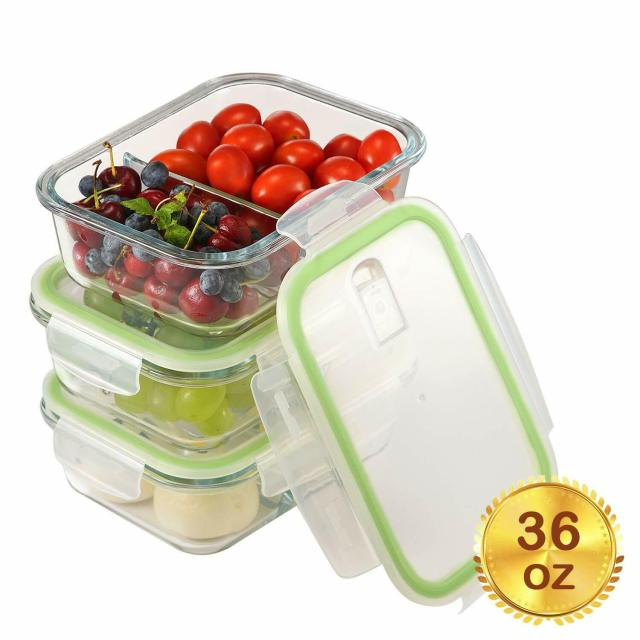 3-Pack Glass Meal Prep Containers 2 Compartment with Lid Glass Food Storage 36oz 6