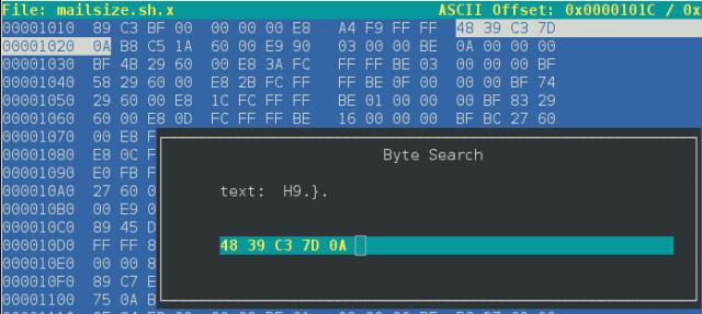 The opcodes are always the same, no matter what the original script looks like. These bytes are for X86_64 (RAX and RBX).