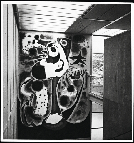 """Miro donated his mural to the Republic; it was accordingly split into its six component panels and packed for shipping back to the Ministry of Fine Arts in Valencia. What happened next remains unclear. It is thought possibly that the mural's poor condition--noted by Sert when it was packed-- lead the Ministry to destroy it upon its arrival in Spain. Sert himself believed that the mural most probably fell victim to an assault on the train… However, he also suggested, in a 1978 interview, that the mural might have been lost when stored int eh Spanish embassy in Paris. Whatever the case, one of Miro's most important paintings is now known through only a few black and white photographs. From ""A Rival To Gurnica? Image: Joan Miro, The Reaper, 1937. Oil paint on Celotex panels."