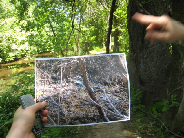 Linking old photographs with walking tours to help visualize potential asbestos waste under the soil and spring growth. Photograph by Britt Dahlberg.