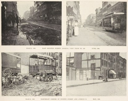 The June 22, 1895, edition of Harper's Weekly compared photos of the same street corners two years earlier to show what an incredible transformation street cleaning had effected. Via the New York Public Library.
