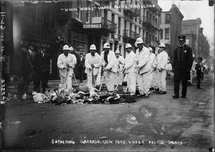 """Waring's """"White Wings Under Police Protection."""" During strike. Photo courtesy DSNY."""