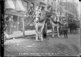 """Breaking the garbage strike at $5 day"" 1911."