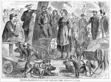 Arrested tag-pickers gathered in City Hall Park, New York. Wood engraving, 1867. Artist: Granger.