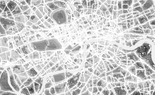 """Silent London"" by Simon Elvins, 2005. Using information the government has collected on noise levels within London, a map has been plotted of the capitals most silent spaces. The map intends to reveal a hidden landscape of quiet spaces and shows an alternate side of the city that would normally go unnoticed."