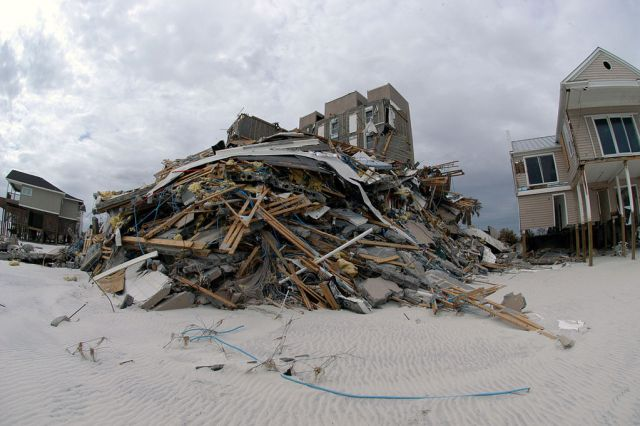 Orange Beach, FL, September 22, 2004-- The effects of Hurricane Ivan are shown along the shore in Orange Beach.