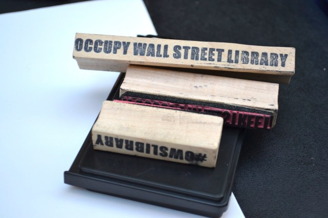 IMAGE 4: Stamps for labeling incoming books (Photo: M. Oman-Reagan)