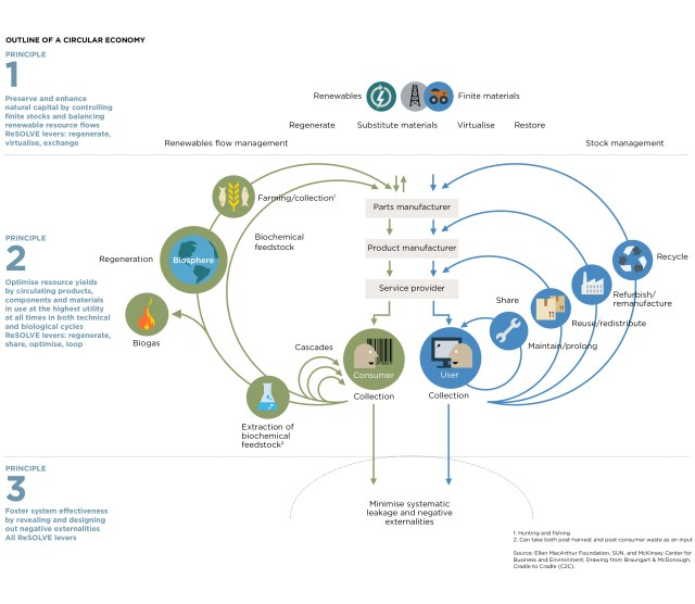 Diagram of the Circular Economy System by the Ellen MacArthur Foundation.