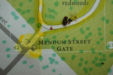 "Detail of map showing ""piss gate,"" the main entrance with the most strucutral damage due to pet urine."