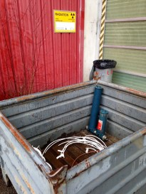 Most of the bins were like this: metal bins with open tops