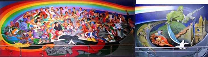 DIA1-2and3Murals-MainPicture New World Order Airport - Occult art