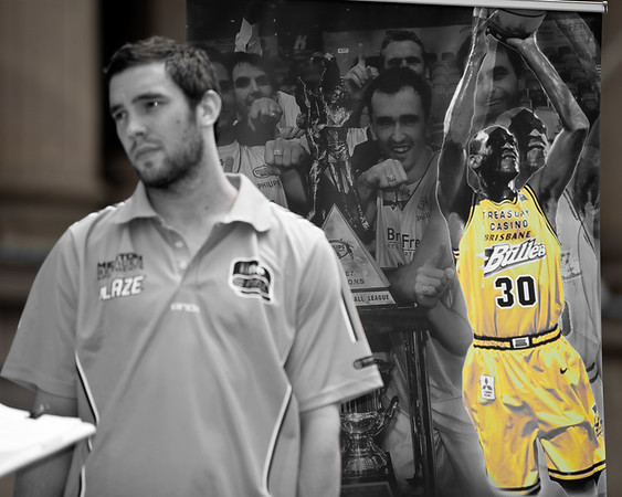Adam Gibson reflects on being a Brisbane Bullets Championship player (Gibbo was a member of the team pictured in the poster behind the image of Leroy Loggins.) - Bring Back the Bullets Promotion, King George Square, Brisbane, Queensland. Photos by Des Thureson:  http://disci.smugmug.com.
