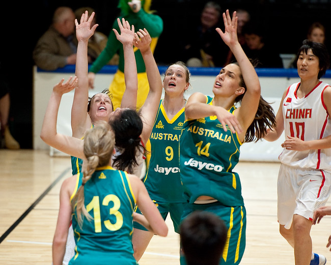 Tess Madgen, Marianna Tolo, Rachael Flanagan - Opals v China International Women's Basketball, Logan Metro Sports Centre, Crestmead, Queensland, Australia; 24 July 2011. Photos by Des Thureson:  http://disci.smugmug.com.