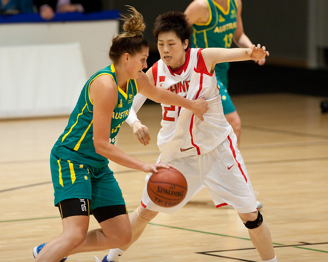 Cayla Francis, Yanyan Ji - Opals v China International Women's Basketball, Logan Metro Sports Centre, Crestmead, Queensland, Australia; 24 July 2011. Photos by Des Thureson:  http://disci.smugmug.com.