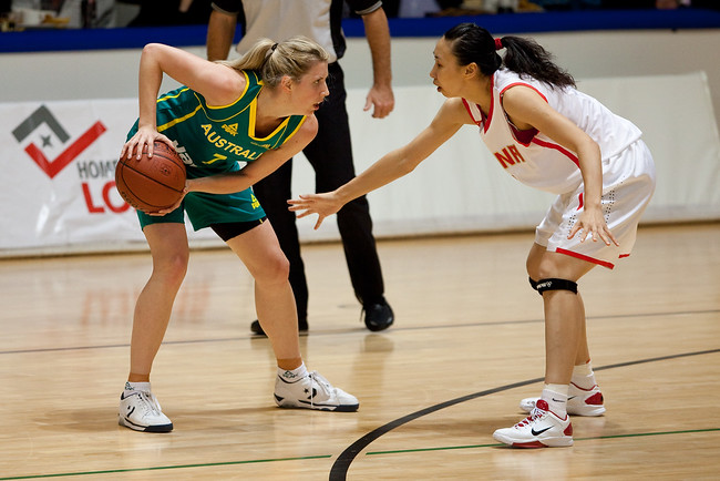 Lijie Miao, Carly Wilson - Opals v China International Women's Basketball, Logan Metro Sports Centre, Crestmead, Queensland, Australia; 24 July 2011. Photos by Des Thureson:  http://disci.smugmug.com.