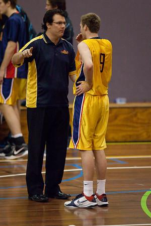 Dale Ryan, Kurt Thompson - QBL Quarter Final Basketball: Gold Coast Rollers v Brisbane Capitals; Carrara, Gold Coast, Queensland, Australia. Photos by Des Thureson:  http://disci.smugmug.com.